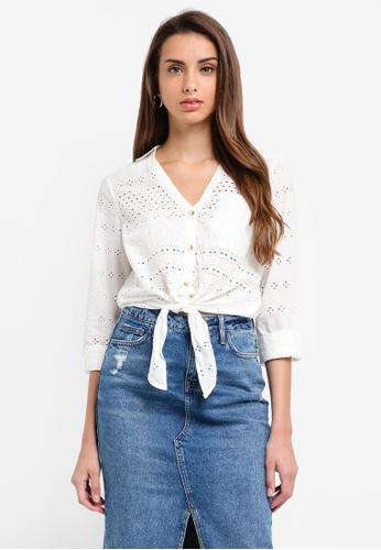 River Island white Broderie Crop Shirt 8C6DCAA55AAE5CGS_1