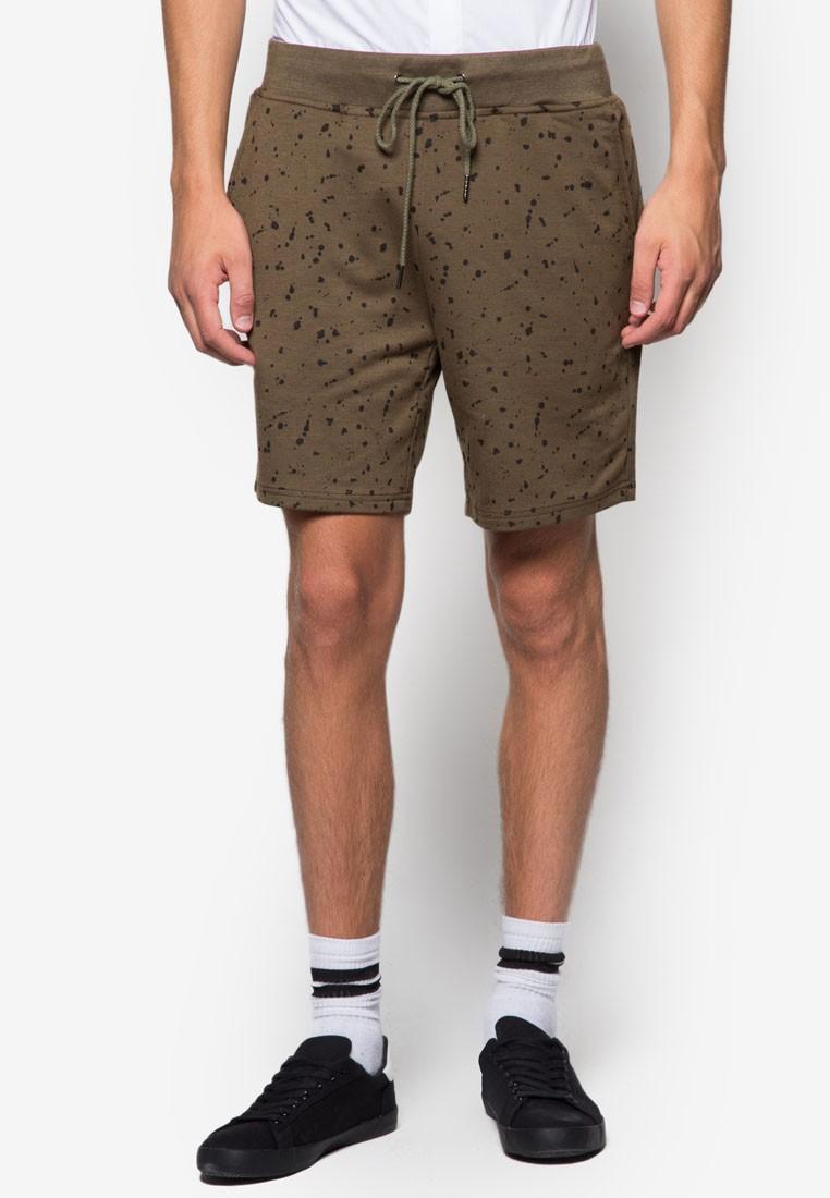 Splattered Print Jersey Shorts
