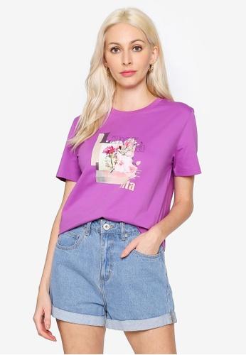 Hopeshow purple Graphic Round Neck Short Sleeve T-Shirt 0D2D7AA2960781GS_1
