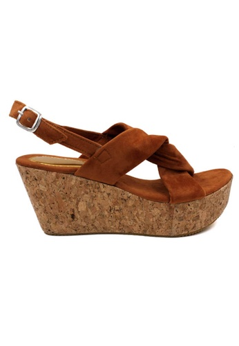 midzone brown MIDZONE Lady Fashion Slingback Wedges 7F11FSHDEEF9CFGS_1