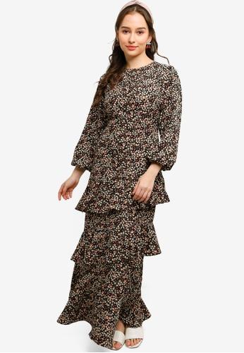 Lubna black Ruffles Dress D8B1EAABE5A335GS_1