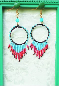Pink and Blue Fringe Earrings