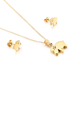 Glamorousky silver Fashion and Lovely Plated Gold Elephant 316L Stainless Steel Necklace and Stud Earrings Set B1864AC4E12AC2GS_1