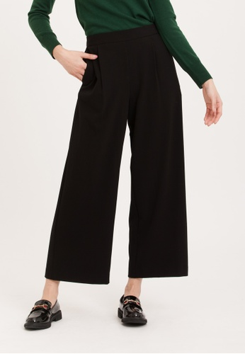H:CONNECT black Solid Color Wide Pants 85DBEAA314031FGS_1