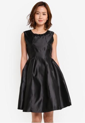 Megane black Red Romance Searlait Beaded Neckline Dress ME617AA0SZX7MY_1