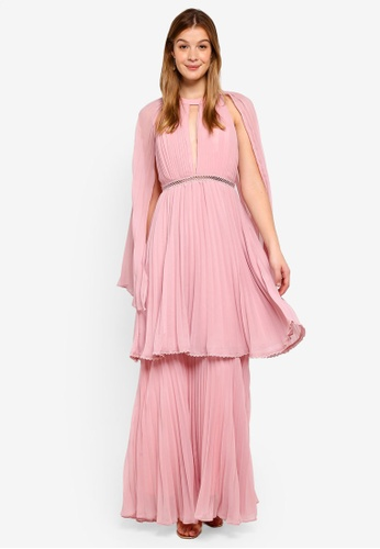 True Decadence pink Maxi Dress With Cape 3DD86AA57A8745GS_1
