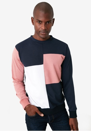 Trendyol navy Colorblock Regular Fit Sweatshirt 24FFAAA55B6D63GS_1