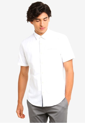 ESPRIT white Woven Short Sleeve Shirt 0E190AA60E64B1GS_1