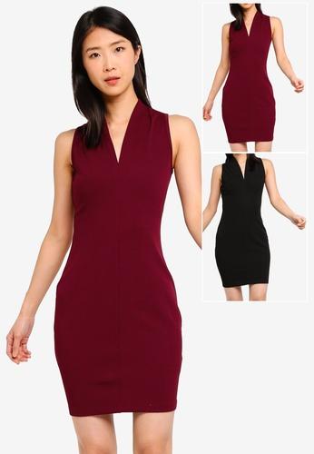 12886deb1f1 Shop ZALORA BASICS 2 pack Basic V-Neck Bodycon Dress Online on ZALORA  Philippines