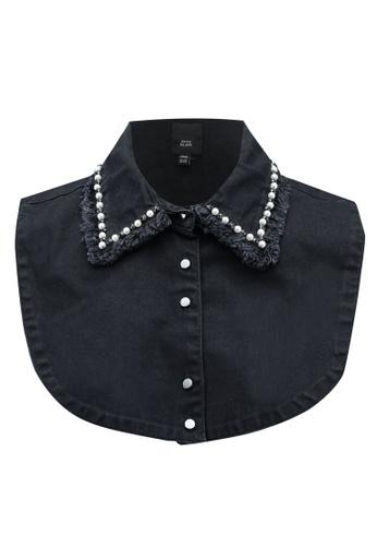 River Island black and navy Pearl Collar Bib 47375AC37E61C9GS_1