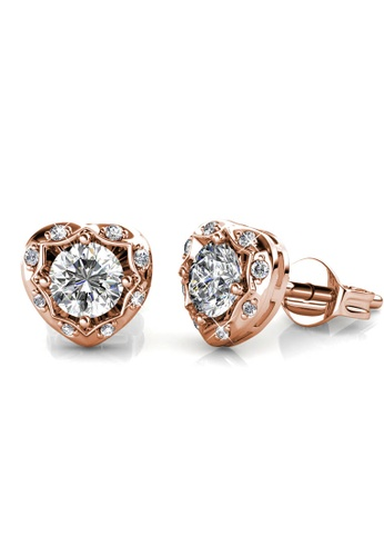 Her Jewellery gold Love Hook Earrings (Rose Gold) - Made with premium grade crystals from Austria D5113ACB37BBAAGS_1