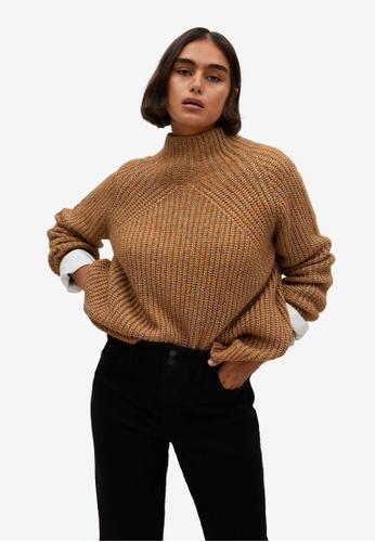 Violeta by MANGO brown Plus Size Metallic-Knit Sweater 46743AAC253AA2GS_1