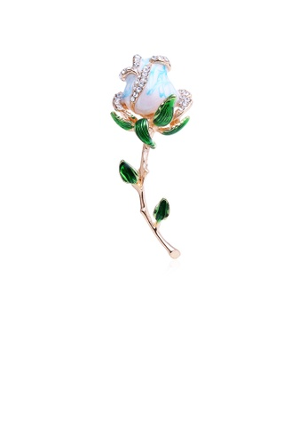 Glamorousky white Fashion and Elegant Plated Gold Plated Blue Flower Brooch with Cubic Zirconia 84B95AC9957A13GS_1