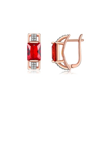 Glamorousky red Fashion Temperament Plated Rose Gold Geometric Rectangular Earrings with Red Cubic Zirconia C021BAC7DCB2A9GS_1