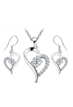 Crystal Heart Set Silver Plated Jewelry Sets by Zumqa