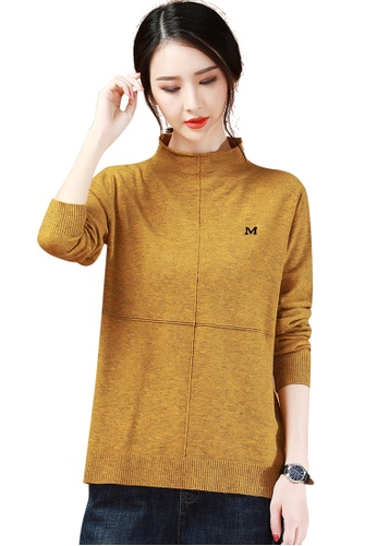 A-IN GIRLS brown Simple Half-Neck Sweater 95229AAB88063DGS_1