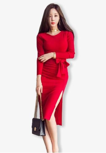 Sunnydaysweety red Red Long Sleeves Side Slit One Piece Dress UA101902R 65FF8AAA0EDBACGS_1