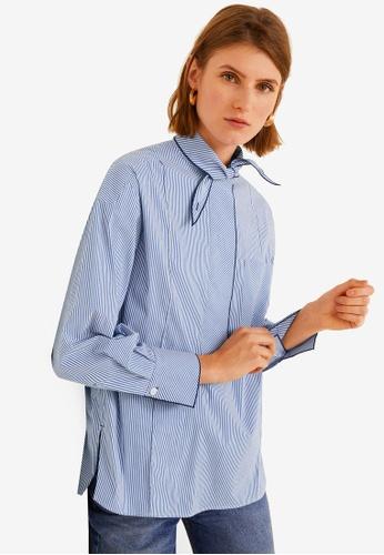 Mango blue Bow Collar Shirt 4AB5AAA13A5DD9GS_1