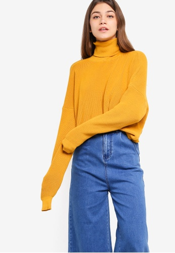 Something Borrowed yellow Oversized Cropped Knit Sweater F0195AA1C5E422GS_1