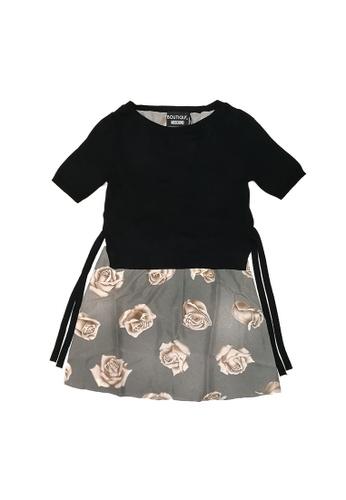 Moschino black Boutique Moschino Rose Print Self-Tie Waist Dress in Black,Grey D77BEAA9499307GS_1