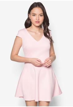 Love Printed Cap Sleeves Fit& Flare Dress