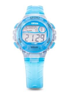 Kid's Digital Pastel Waterproof Sport Watch Orange Plastic Strap XJ-863
