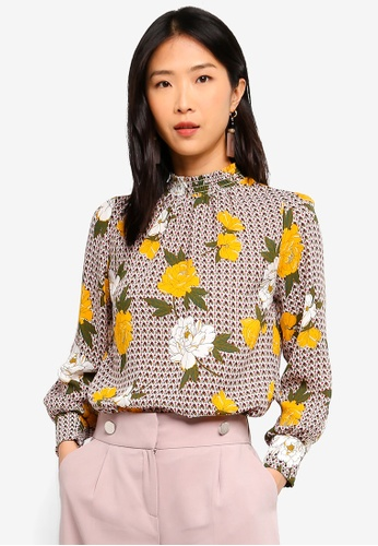 b6e54469aa Buy Dorothy Perkins Petite Shirred Neck Floral Top Online on ZALORA  Singapore