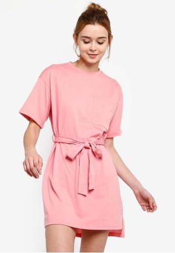 Something Borrowed 粉紅色 綁帶T恤洋裝 565CAAA8DB5859GS_1