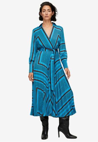 Mango blue Striped Midi Dress F9169AAF015EBEGS_1