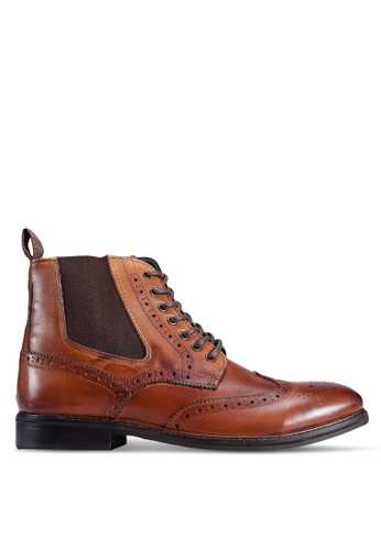 Burton Menswear London brown Tan Leather Brogue Boots 90951SH60EC02CGS_1