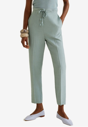 Mango green Textured Baggy Trousers AB6F0AA6102686GS_1