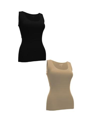 Chelyne black and beige Chelyne Singlet Atasan XL 024 Bahan Seamless Lycra Daleman/Camisole Harian (Isi 2 pcs) 8B86BAA6879627GS_1