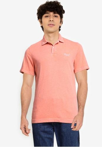 SUPERDRY pink LA Beach Jersey Polo Shirt - Original & Vintage 6C654AA323E701GS_1