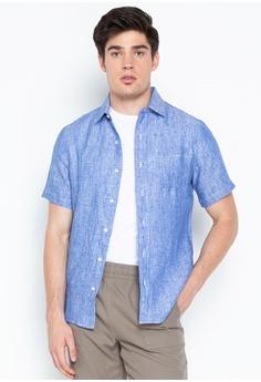 953903d202b7 REIN & PAUL blue Linen Short Sleeve Shirt 8E80BAA212745CGS_1