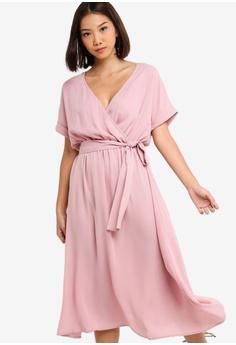 2d7b5590ce Something Borrowed pink Cuffed Sleeves Waist Tie Midi Dress  591B6AA618DCC6GS 1