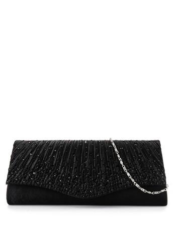 LYONS black Classic Rhinestone Gold Satin Flap clutch 38250ACAECE68BGS_1