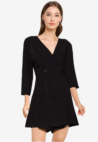 ZALORA WORK black Double Breasted Playsuit 78BDCAADEF9DB5GS_1