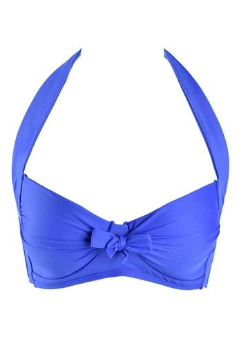 Sunseeker blue Solids B-D Cup Halter Bikini Top 83779USA459A5DGS_1