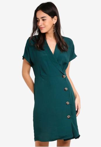 Vero Moda green Riga Button Short Dress A1B7EAA42146F9GS_1