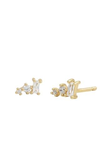 Wanderlust + Co gold Multi-Gem Diamante Gold Earrings 79A5EAC76DC0F1GS_1