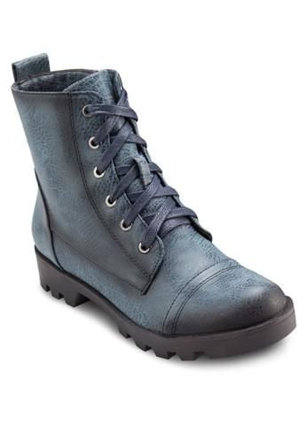 暗紋鞋帶高zalora 順豐筒靴, 女鞋, 鞋