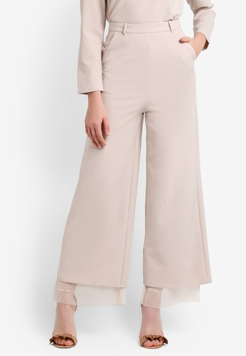 Zalia beige Pleated Mesh Layer Palazzo Pants EF43AZZ0B4A415GS_1