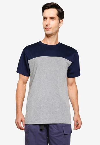 ZALORA BASICS grey Color Block T-Shirt 8E087AAE451F5EGS_1