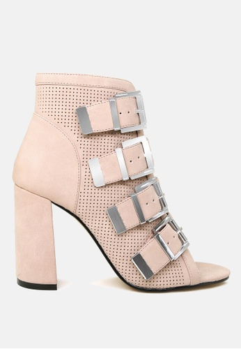 London Rag beige Peep Toe Block Heel Sandal D3CB5SH0E42C0FGS_1