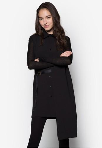 不對稱長版esprit outlet 香港腰帶襯衫, 服飾, 上衣