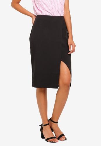 ZALORA BASICS black Basic Wrap Slit Skirt 94838AAECC6115GS_1