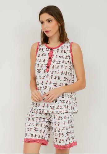 Greet Night Wear white Greet Night Wear Mickey Minnie Mouse Pattern Slim Fit Shorts E-295 / HB 94BBCAAA99BDEFGS_1