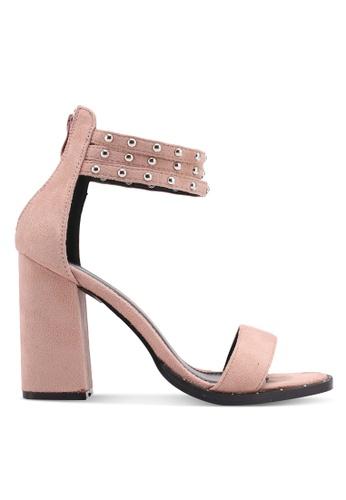 Something Borrowed 粉紅色 鉚釘繞踝一字帶粗跟涼鞋 14899SHF9CFBF8GS_1