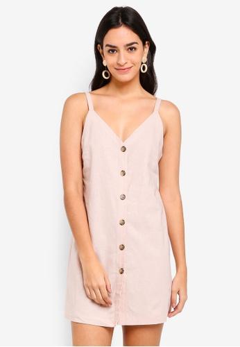 TOPSHOP pink V Button Mini Slip Dress 00C20AAB49D816GS_1