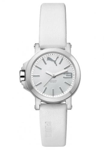 Puma white PU104082001 Ultramini Silver White PU Strap Ladies Watch PU549AC0RKKJMY_1